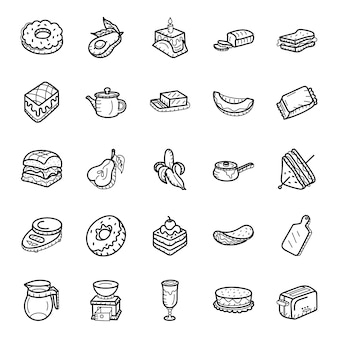 Fruits and bakery items hand drawn icons pack