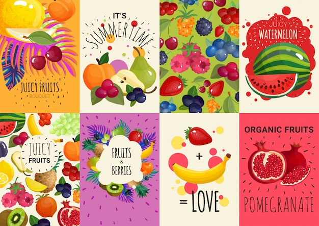 Fruits berries 8 banners set