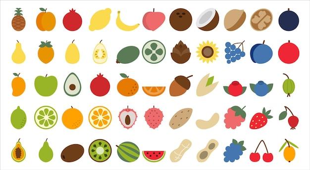 과일 열매와 견과류는 신선한 건강에 좋은 비타민으로 가득한 유기농 식품을 설정합니다.