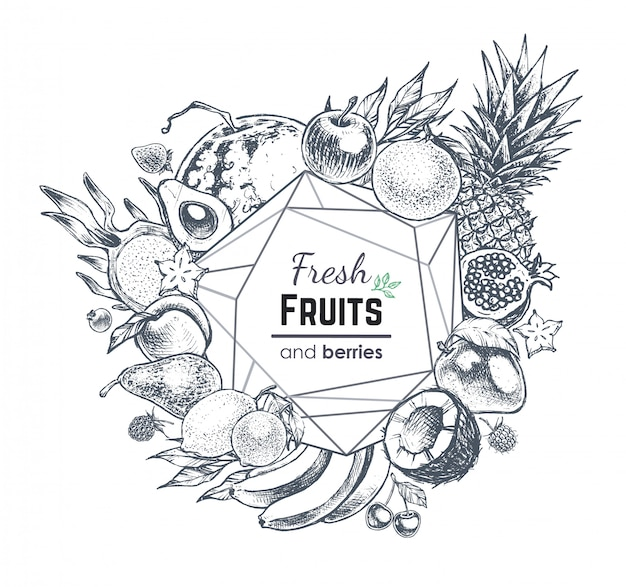 Fruits and berries frame, hand drawn style food illustration