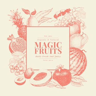 Fruits and berries hand drawn vector background