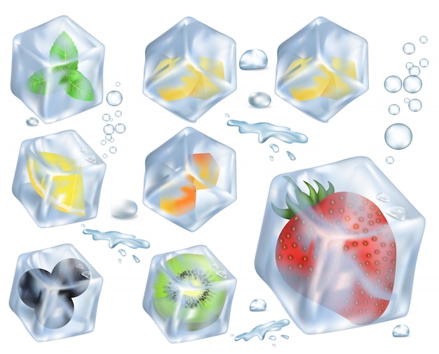 Fruits, berries and herb in ice