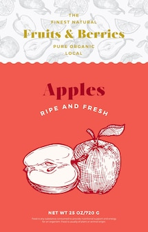 Fruits and berries pattern label template. abstract vector packaging design layout. modern typography banner with hand drawn apple with half sketch silhouette background. isolated.