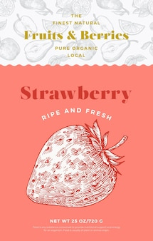 Fruits and berries pattern label template abstract vector packaging design layout modern typography ...