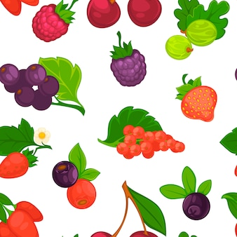 Fruits and berries raspberry and strawberry seamless pattern