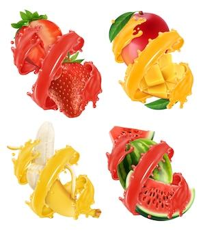 Fruits and berries in splash of juice illustration set