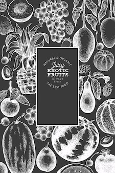 Fruits and berries  template. hand drawn  tropic fruits illustration on chalk board. engraved style fruit. retro exotic food banner.