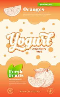 Fruits and berries yogurt label template abstract vector dairy packaging design layout modern typogr...
