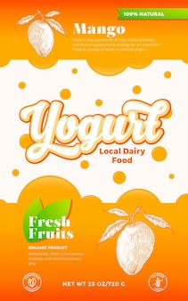 Fruits and berries yogurt label template. abstract vector dairy packaging design layout. modern typography banner with bubbles and hand drawn mango with leaves sketch silhouette background. isolated