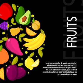 Fruits on black background. illustration with space for your text