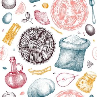 フルーツケーキ調理工程シームレスパターン
