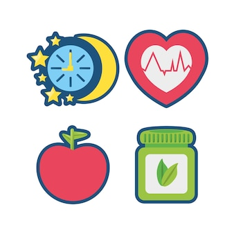 Fruits, chronometer, healthy pills and heartbeat icons