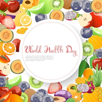 Fruits collection for world health day.