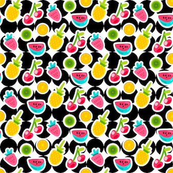 Fruits color seamless vector pattern. doodle cherry, strawberry, pineapple stickers on circles