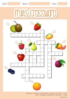Fruits cross word