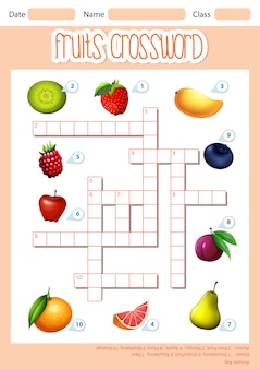 A fruits crossword template