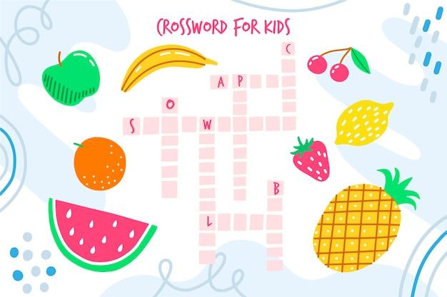 영어 단어와 과일 크로스 워드 퍼즐 무료 벡터