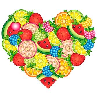白い背景の図に分離されたハートの形に配置された果物のデザイン