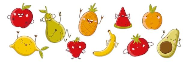 フルーツ落書きセット。白い背景に幸せな怒っている漫画の感情を持つベジタリアンカラフルな食品マスコットキャラクターの手描きテンプレートパターンのコレクション。ビタミン健康栄養イラスト