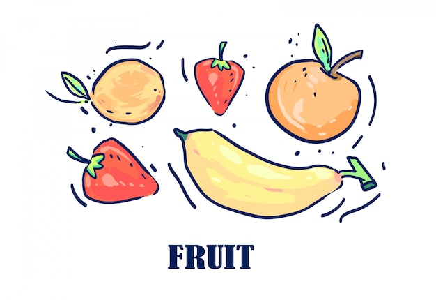 Fruits drawn by a line. fruit vector illustration