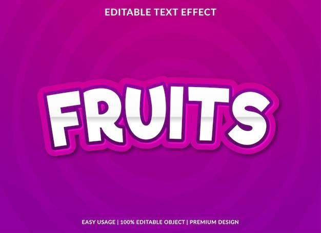 果物編集可能なテキスト効果テンプレートプレミアムベクトル