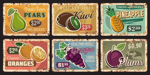 Fruits, farm market price cards on metal plates rusty, vintage posters