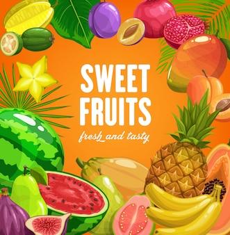 Фрукты пищевые тропический ананас, банан и папайя