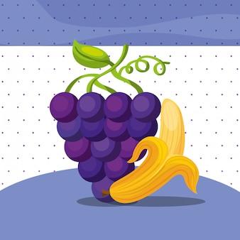 Fruits fresh organic healthy grapes banana