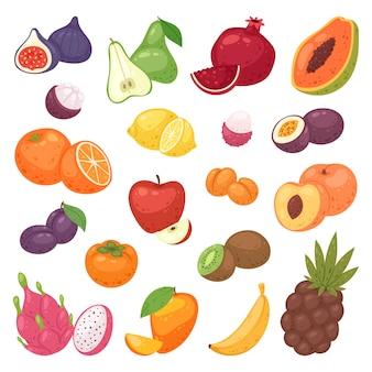 フルーツフルーティーなアップルバナナと熱帯のdragonfruitの新鮮なスライスまたは白い背景に分離されたジューシーなオレンジイラスト実り多いセットとエキゾチックなパパイヤ
