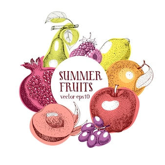 Fruits hand drawn vector frame template.