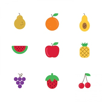 Fruits icons colored
