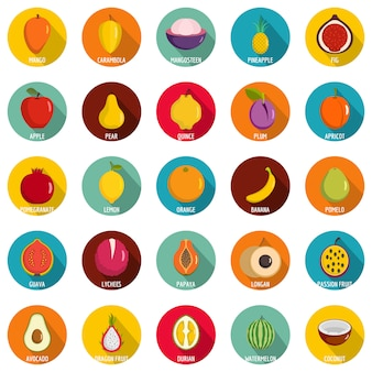 Fruits icons set. flat illustration of 25 fruits vector icons circle isolated on white