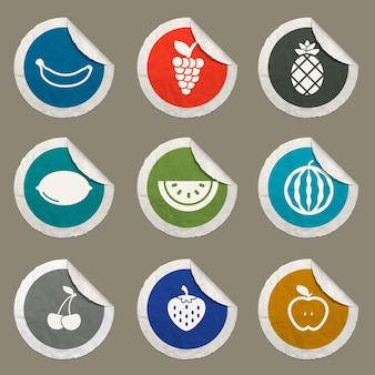 Fruits icons set for web sites and user interface
