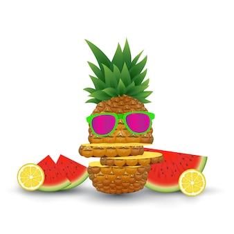 Fruits illustration on summer. vector illustration