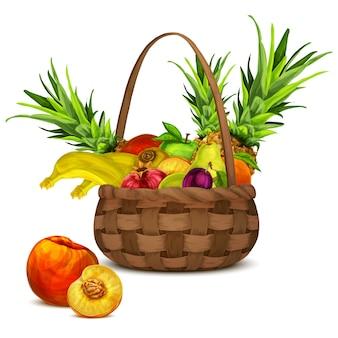 かごの中の果物 Premiumベクター