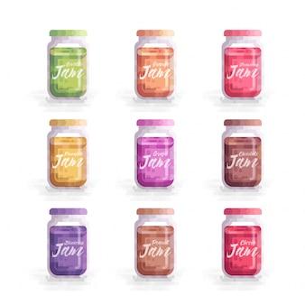 Fruits jam mason jar vector illustration