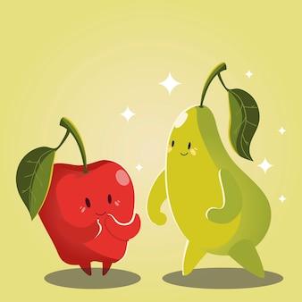 Fruits kawaii funny face cute apple and pear vector illustration
