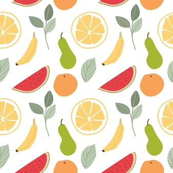 Fruits and leaves seamless pattern