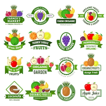 フルーツのロゴ。健康的な果物の新鮮な農場エコ自然製品市場広告ベクトルシンボルの装飾バッジ。バッジ有機健康農産物、エンブレムラベル自然イラスト