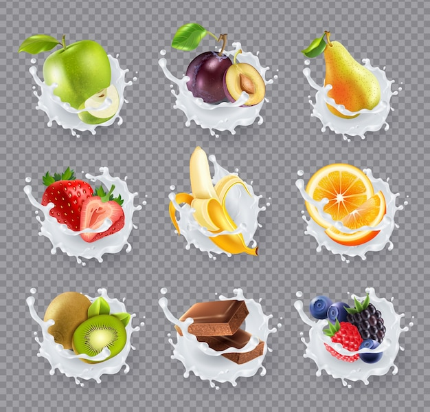 Fruits milk splashes realistic set