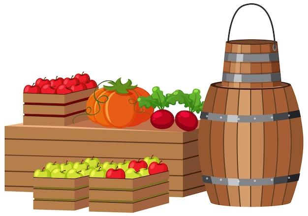 나무 통과 나무 상자에 과일