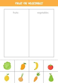 미취학 아동을위한 과일 또는 채소 정렬 게임 교육용 논리 워크 시트
