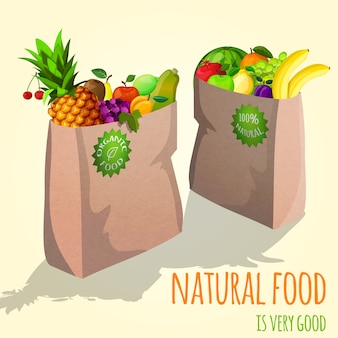 Fruits in paper bag illustration