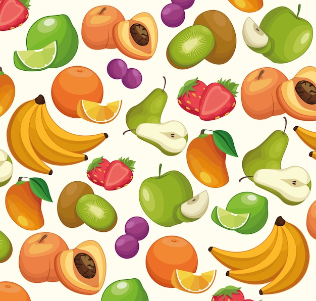 Fruits pattern background cartoons