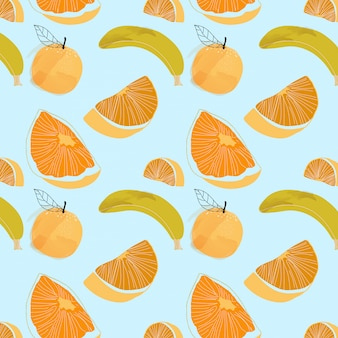 Fruits pattern - blue and tropical background.