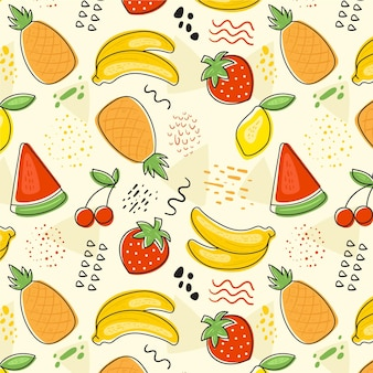 Fruits pattern colorful set theme