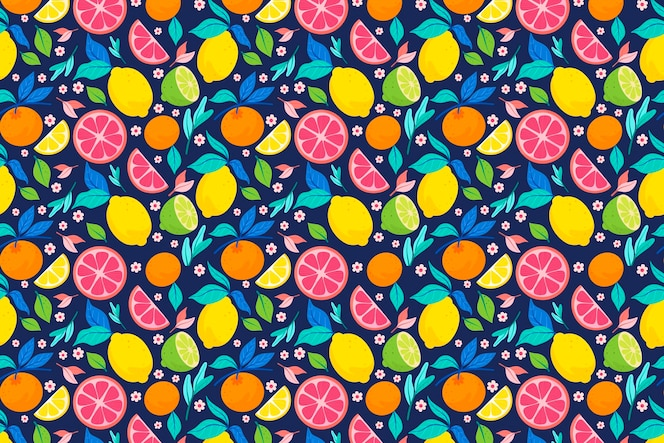 Fruits pattern design with citrus