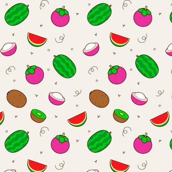 Fruits pattern design with watermelon