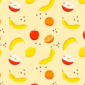 リンゴとバナナのフルーツパターン