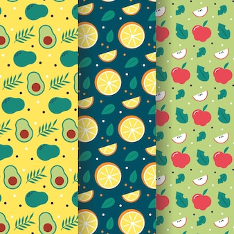 Fruits pattern with avocado, oranges and apples collection
